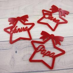 Pack de 3 Adornos Arbol Navidad redondo metacrilato rojo/blanco